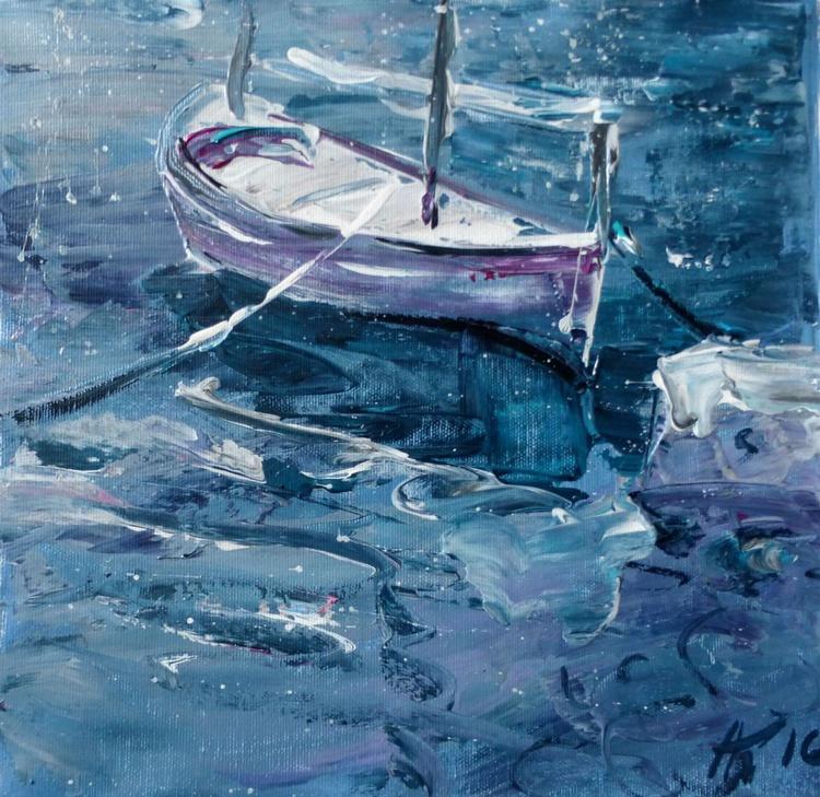 White boat, original painting 30x30 cm - Image 0