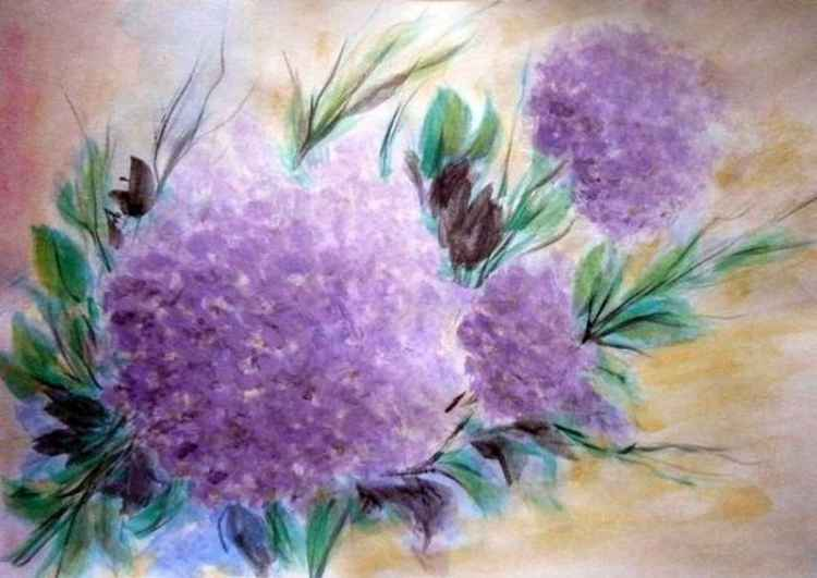 Still life with a hydrangea - watercolor .. -