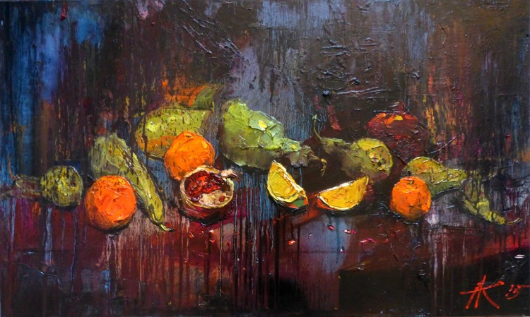 Pears, large oil painting 100x60 cm - Image 0