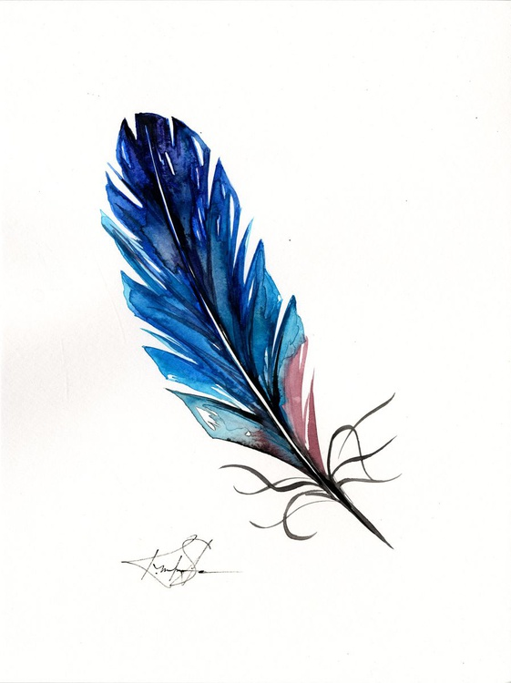 Watercolor Feather 2 - Abstract Feather Watercolor Painting - Image 0