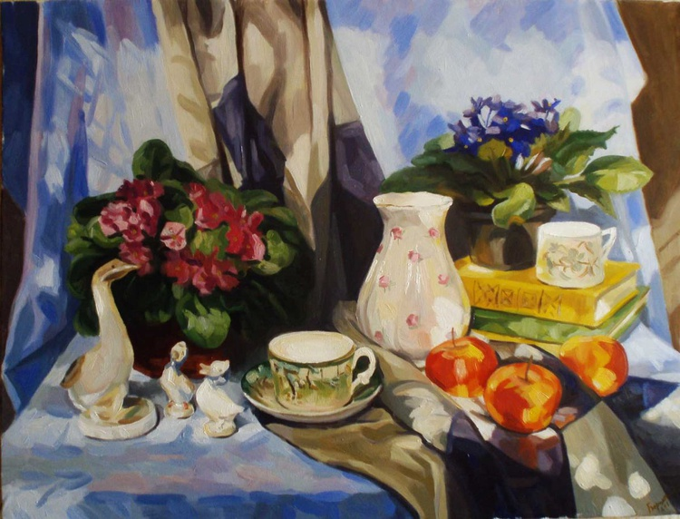 Still life with violets - Image 0