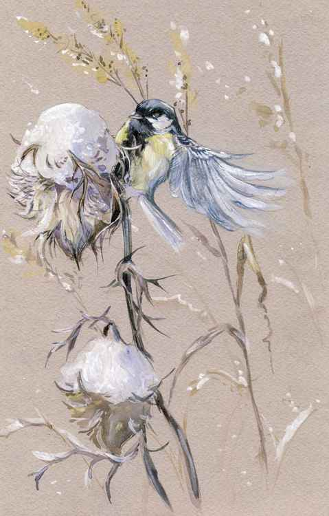 ORIGINAL WATERCOLOR  Tit on a thistle 4