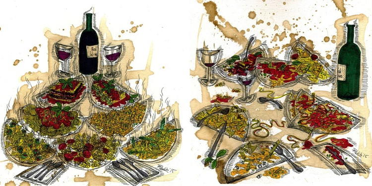 Still life with pasta and italian red wine. Before and after - Image 0