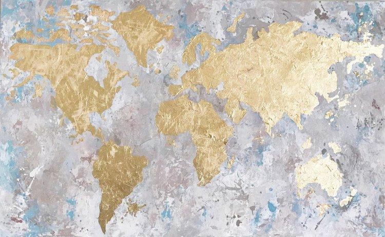 Gold leaf world map by anupama chandwani artfinder gold leaf world map 1 gumiabroncs Choice Image