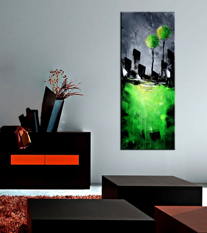 Spring- Original Landscape Modern Cityscape , Contemporary Abstract Landscape Painting - Image 0