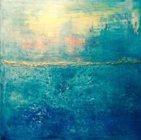 "Abstract ""Blue horizons"" by Henrieta Angel"