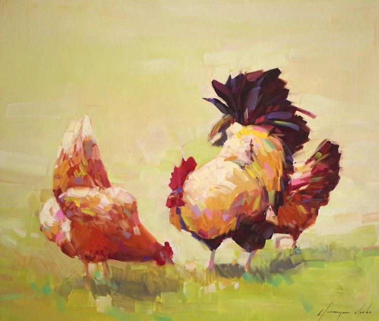 Hens Original oil Painting Handmade artwork One of a Kind Impressionism - Image 0
