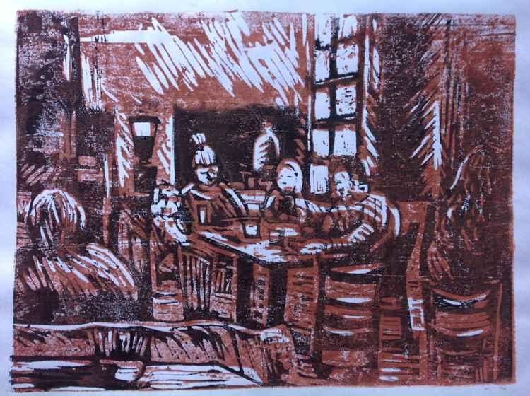 Woodcut café -