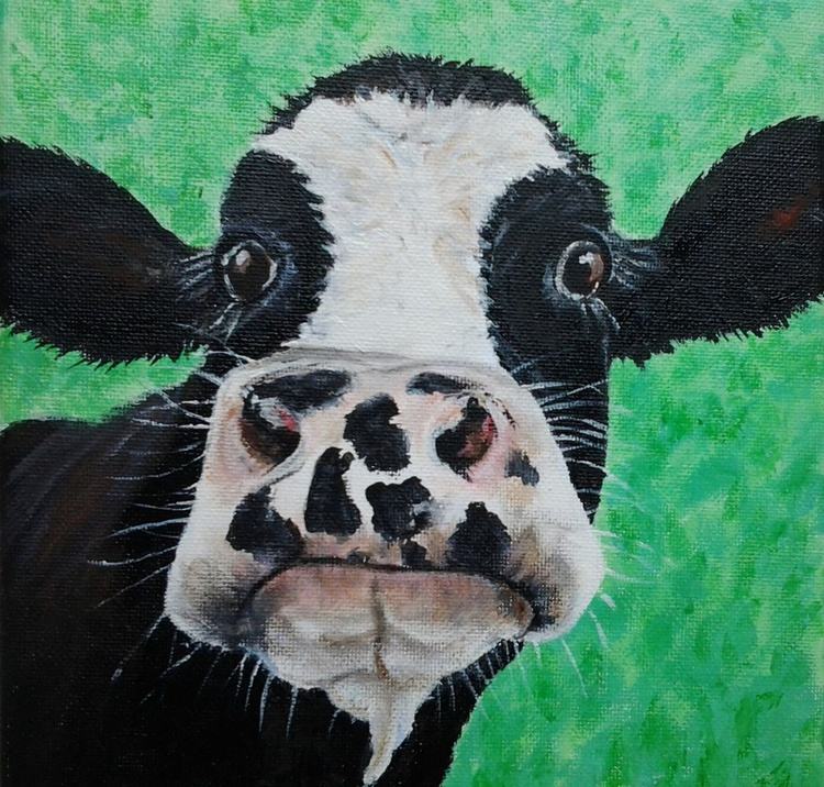"""HERE IS BESSIE"", acrylic on 20x20cm canvas of a cute cow. Ready to hang - Image 0"