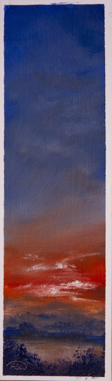 Red Sunset - Miniature in Oil - Image 0