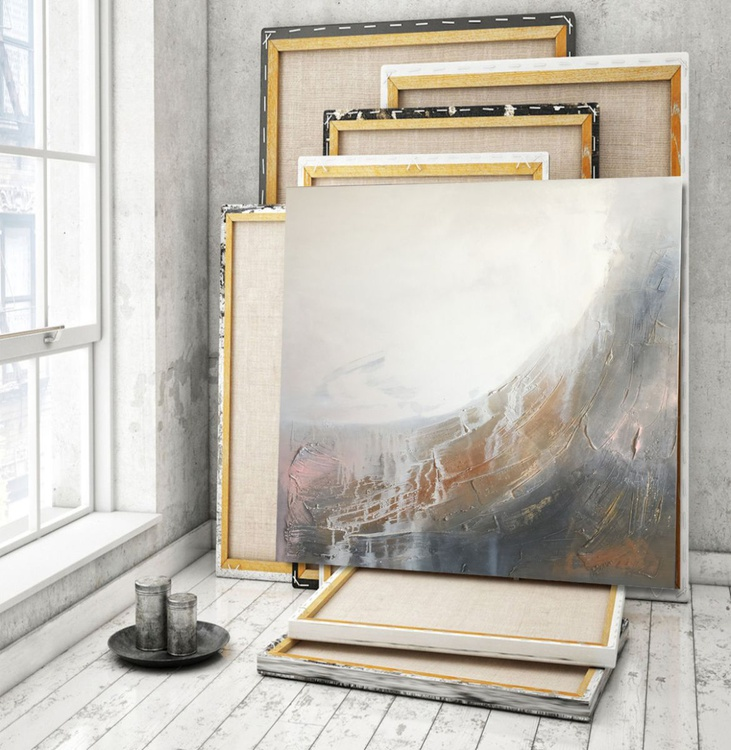 Misty landscape Tectured abstract painting - Image 0
