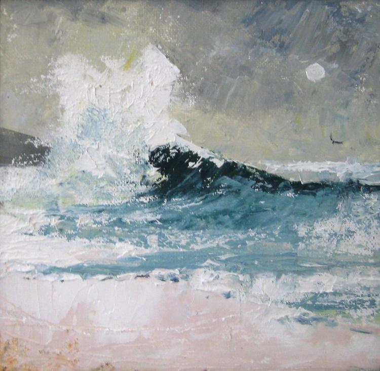 Great Skua Meets Great Big Wave at Moonset - Image 0