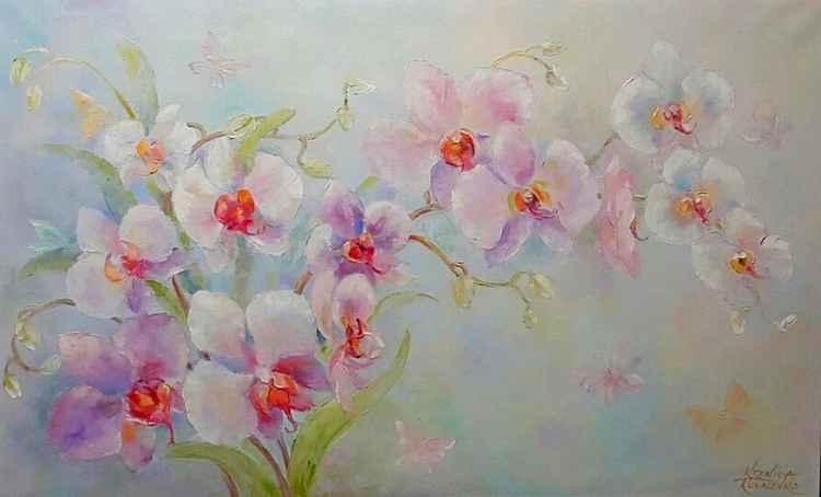 painting *Орхидея. Прекрасна и изящно горделива!* Oil on canvas 130х80 cm