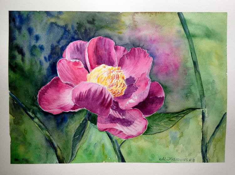 Original one of a kind watercolor artwork - The peony flower -