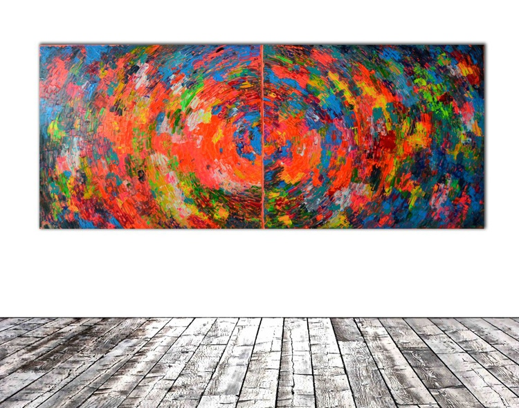 RESERVED!!! Gypsy Rounded Skirt - 240x100 cm - XXXL Large Modern Abstract Big Painting - Ready to Hang, Office, Hotel and Restaurant Wall Decoration - Image 0