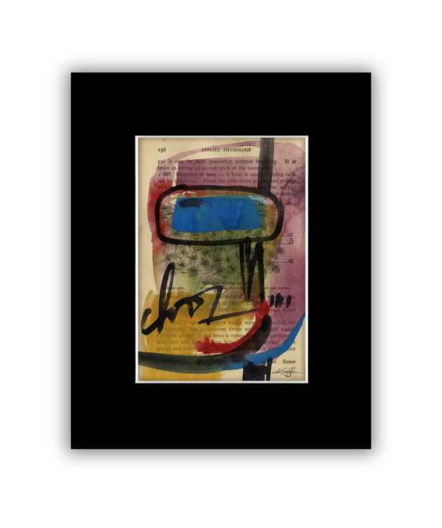 Abstract 14 on Antique Book Page - Abstract Watercolor Painting -