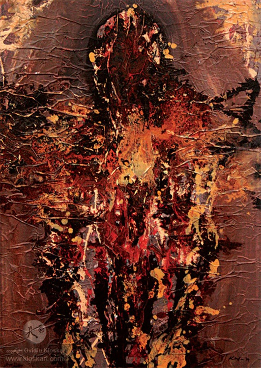 LARGE HEAVY ANGEL ON WOOD BY MASTER KLOSKA LOST TRACE ANCIENT LOOK ONIRIC ART - Image 0