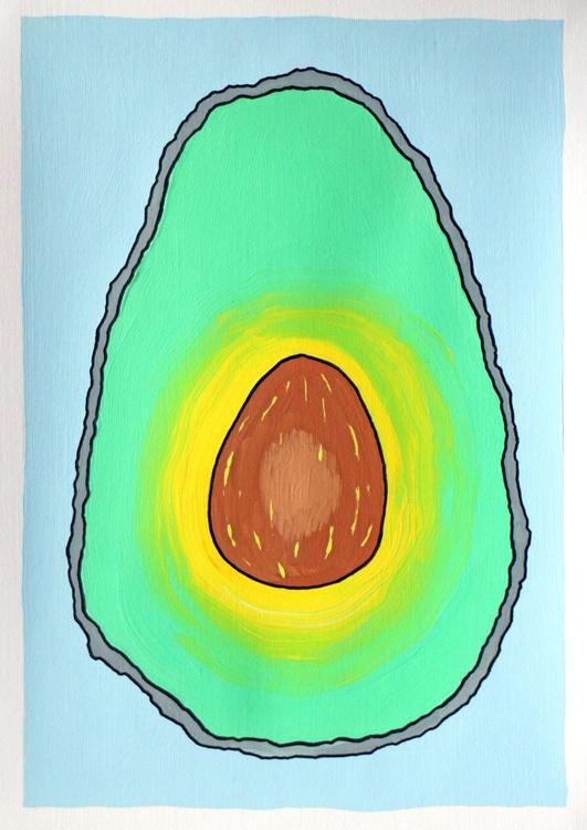 Avocado Half Pop Art Painting On A4 Paper - Image 0