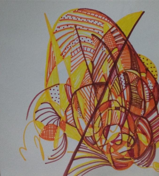 Orange and Yellow Fireball Drawing (13cm x 14cm) - Image 0