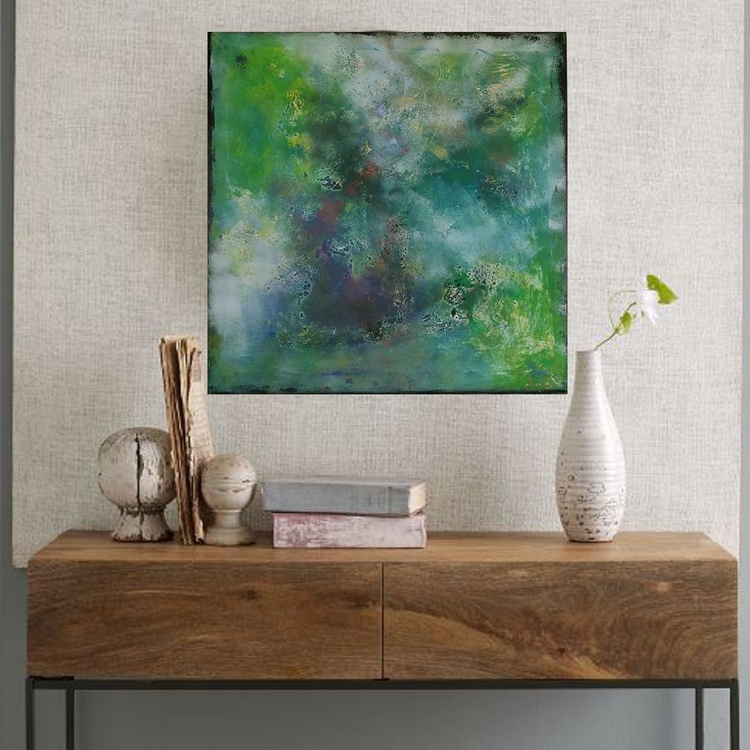"""31,5 by 31,5"""" , square abstract painting, Mo'orea Island - Image 0"""