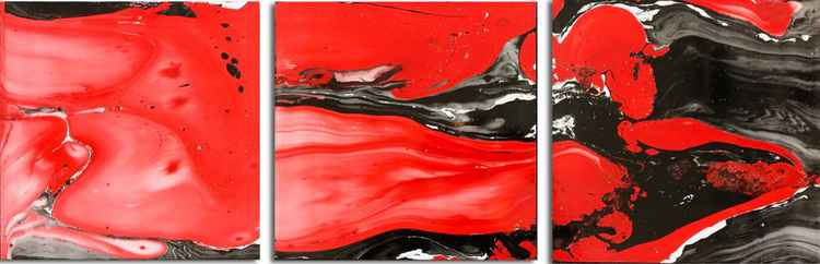 Lava Abstract Art 'Lava Flow Black' Modern Painting | Black/Red Metal Painting by Nicholas Yust