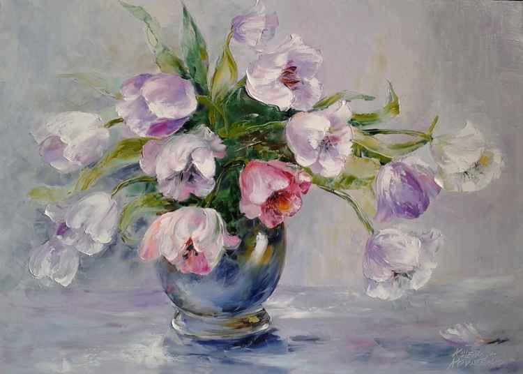 painting  *Tulips* Oil on canvas 70х50 cm -