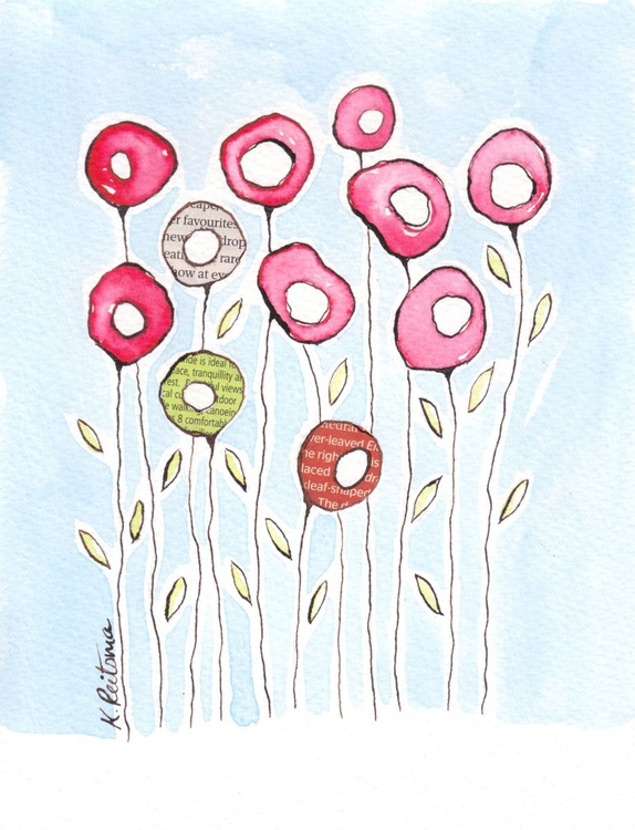 Red Poppies, Mixed Media Flower series - Image 0