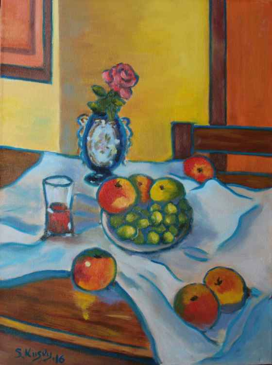 Still life with fruits and rose -
