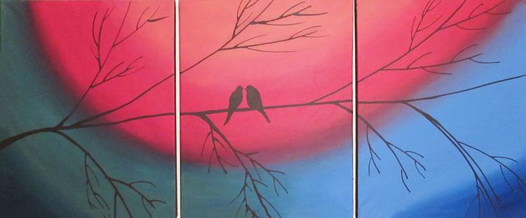 "original love bird abstract landscape ""The Rainbow Tree"" painting art canvas - 48 x 20 inches romance - Image 0"