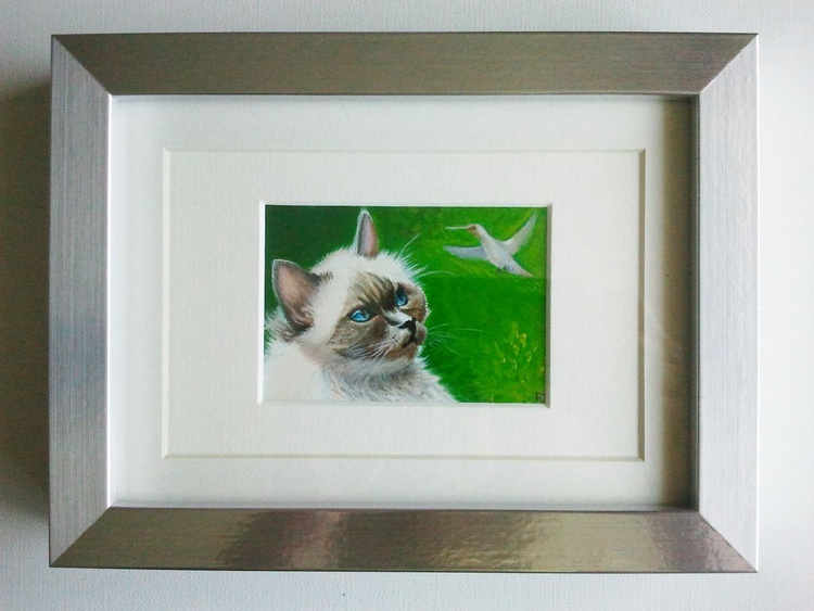 The Most Lovable Cat Tiffany and a Glimpse of a Hummingbird; miniature painting - Image 0