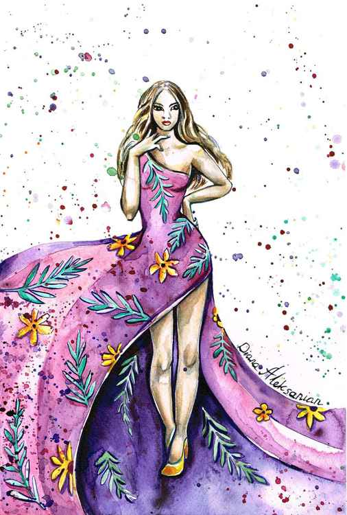 Lady in Purple Flowery Dress