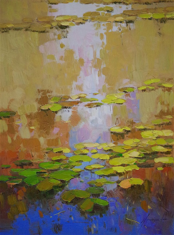 Waterlilies, Original oil Painting, Impressionism, Handmade artwork, One of a Kind - Image 0