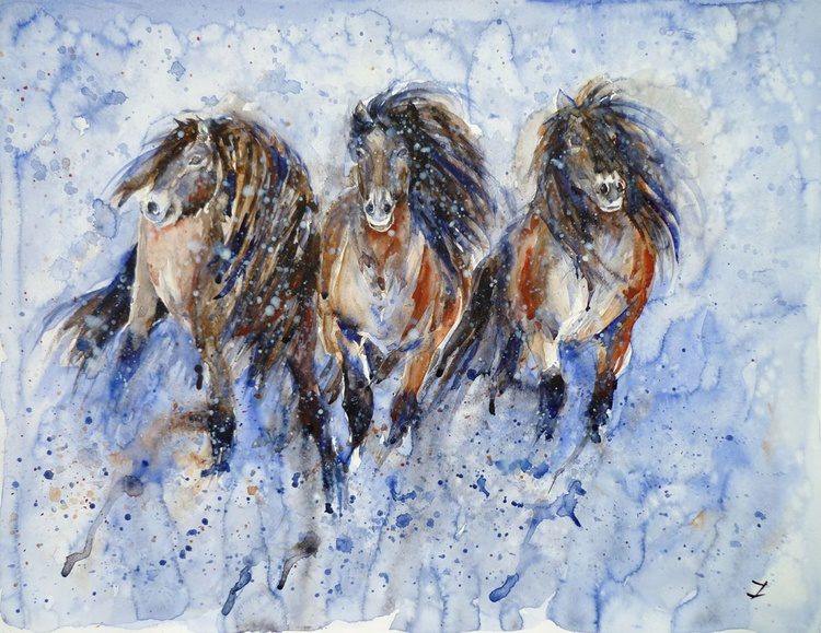 Yakutian Horses in the Snow Storm - Image 0