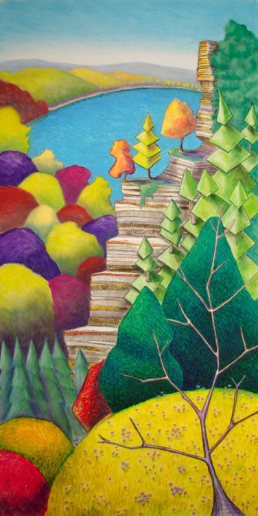 Cliff Overlooking Lake with Colorful Trees, Original Pastel Landscape - Image 0