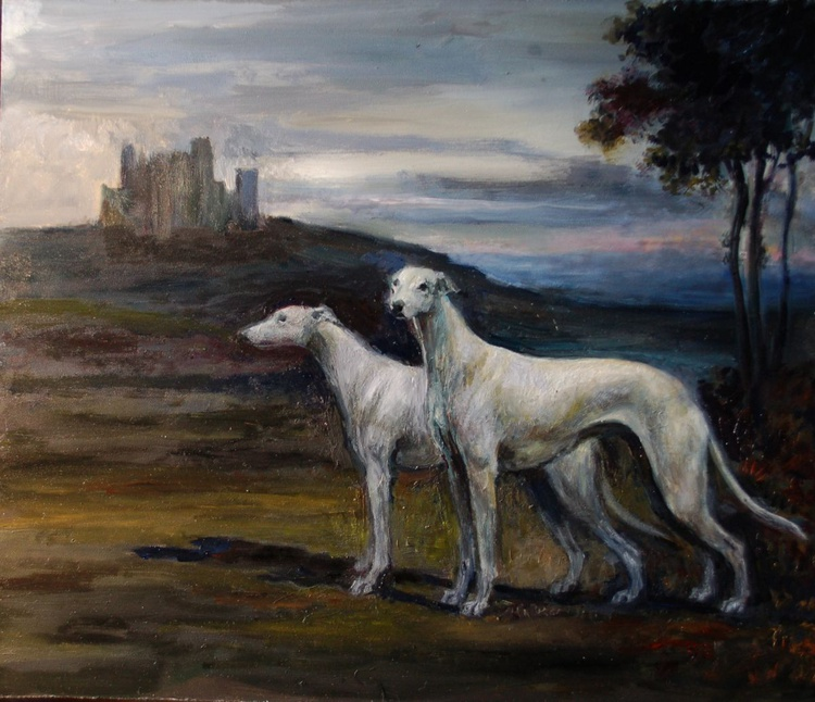 White Greyhounds in a Landscape - Image 0