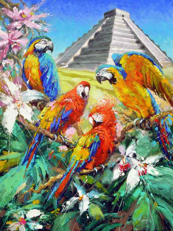 Mexican Guacamayas - original painting by Dmitry Spiros, size 59cm x 80cm, 2014