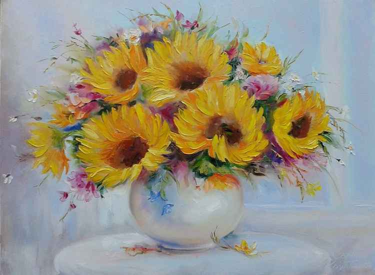 painting *Sunflowers* Оil on canvas 80х60cm -