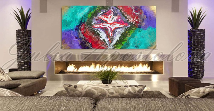 Abstract Painting, Huge Original Contemporary Art, Large Floral Abstraction, Ready to hang, Turquoise, Lilac, Pink, Gold, Silver, Red, Green, White, Multicolor, Modern Wall Decor ''The Power Inside You'' - Image 0