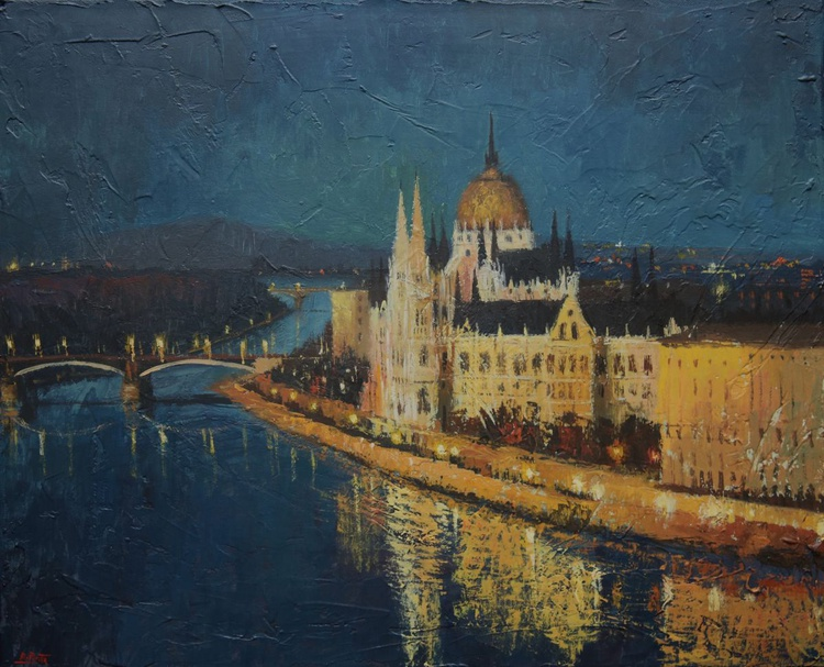 BUDAPEST, PARLIAMENT HOUSES AT NIGHT - Image 0