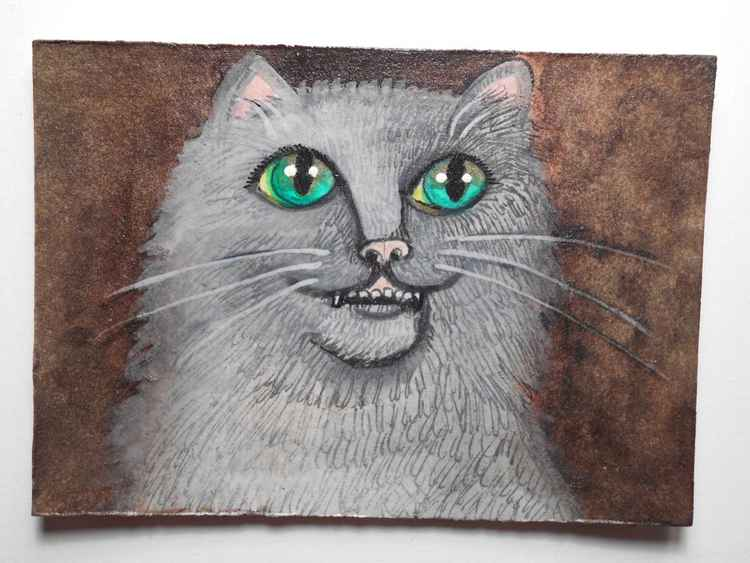 Gray Cat with Green Eyes and an Overbite Original Painting