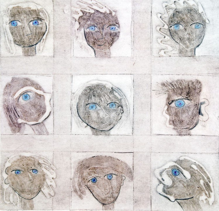 Blue eyes, monoprint - Image 0