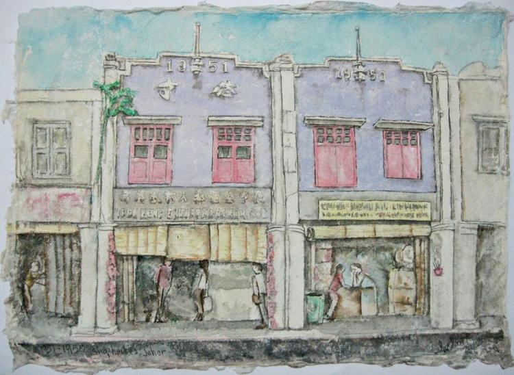 1951-1950, shophouses, Johor - Image 0