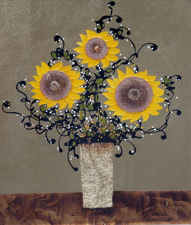 Original Beautiful Sunflower of Asia canvas oil painting Framed - Image 0