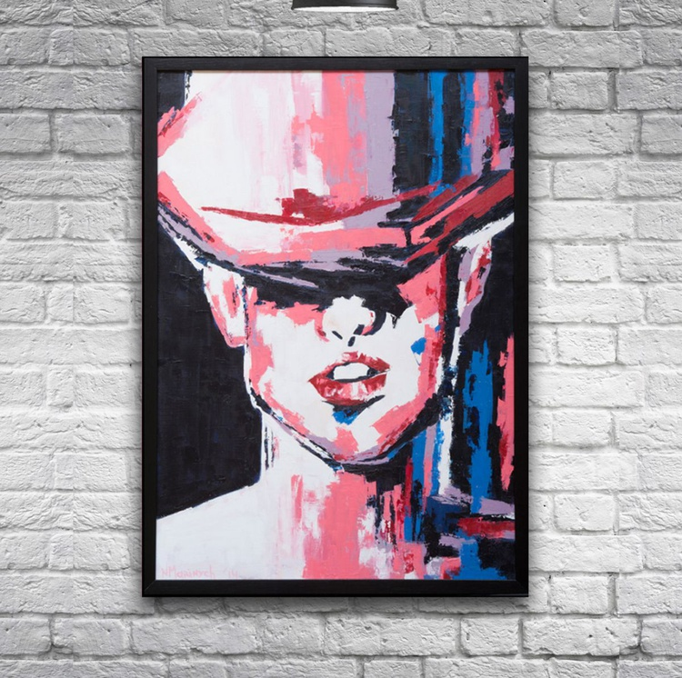 Oil painting, Abstract,Portrait, Top hat,Lady, Face painting - Image 0