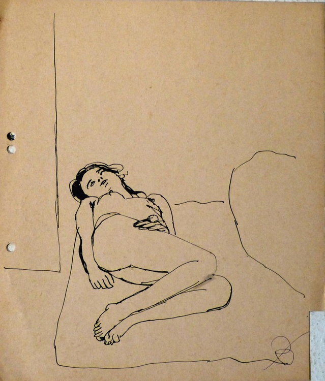Nude in Bed, on divider paper, 23x27 cm - Image 0