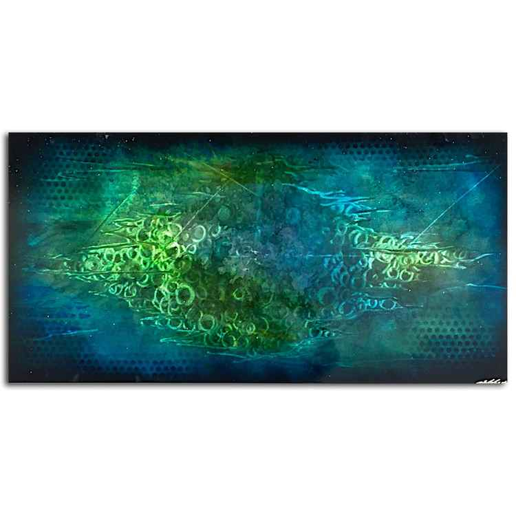 Blue Oracle | Blue Green Metal Art - Aquatic Painting - Cool Tones Wall Art - Modern Metal Art - Abstract Metallic Blue Artwork - Blue Painting -