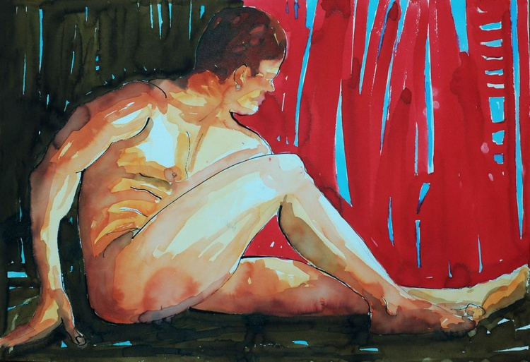 Sitting  Male Nude Watercolour - Image 0