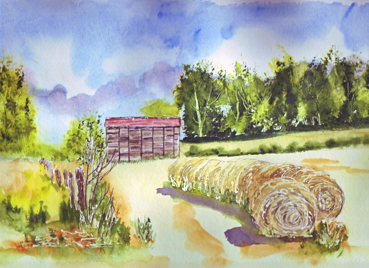Images of France - Old Barn & Haybales - Image 0