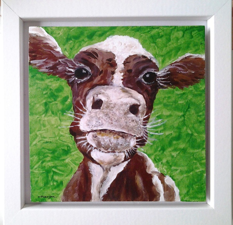 """""""MY GREEN VALLEY"""", Cow, Farm animal, Life stock, Ready to hang - Image 0"""