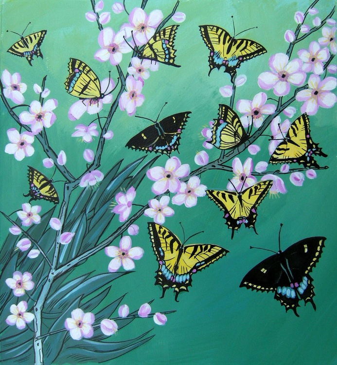 Swallowtails with blossom - Image 0